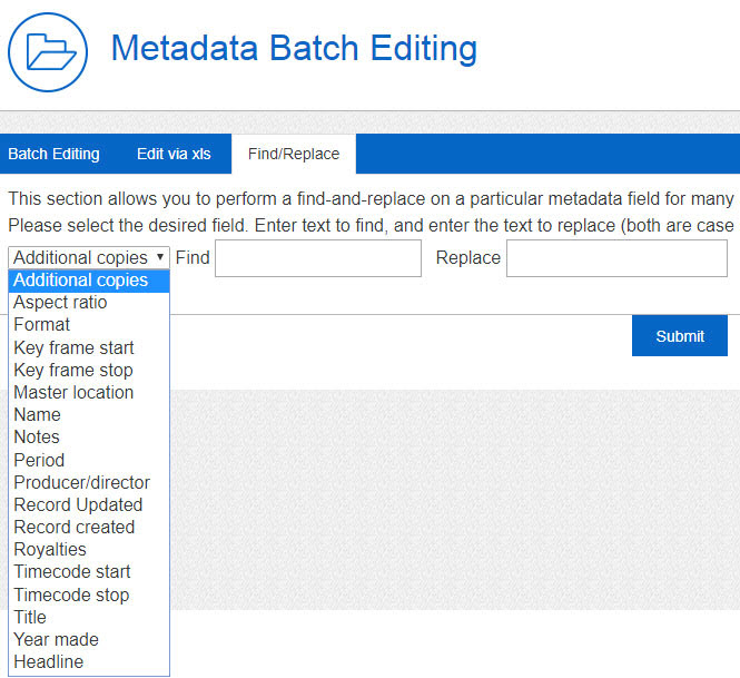 Update any metadata fields via Find and replace tool